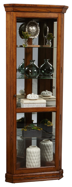 Classic Oak Corner Glass Curio Cabinet With Mirrored Back ...