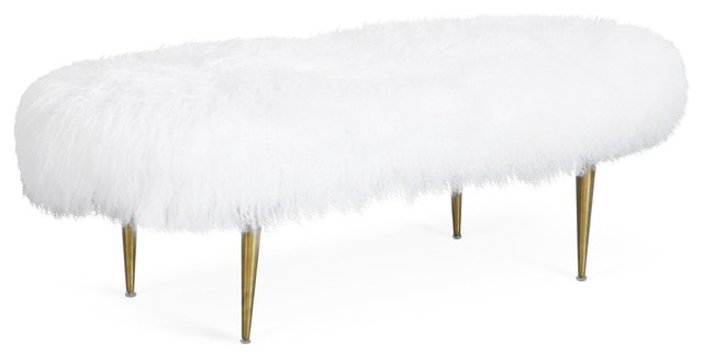 Odel Contemporary Velvet Bench With Sheepskin Seat Cover.