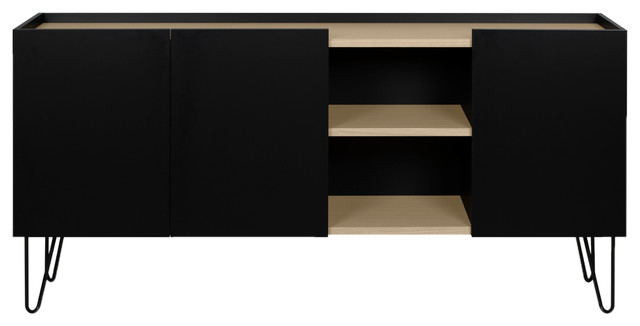 Nina Modern Hairpin Leg Oak And Black Sideboard Midcentury Buffets And Sideboards By Plush Pod Decor