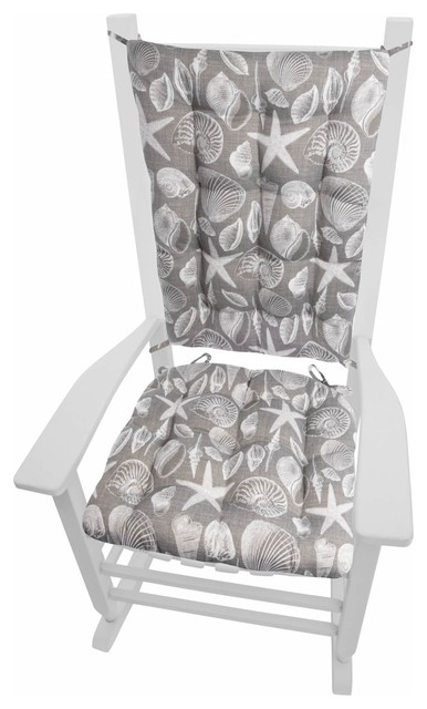 Shoreline Gray Porch Rocker Cushions Latex Foam Fill Standard