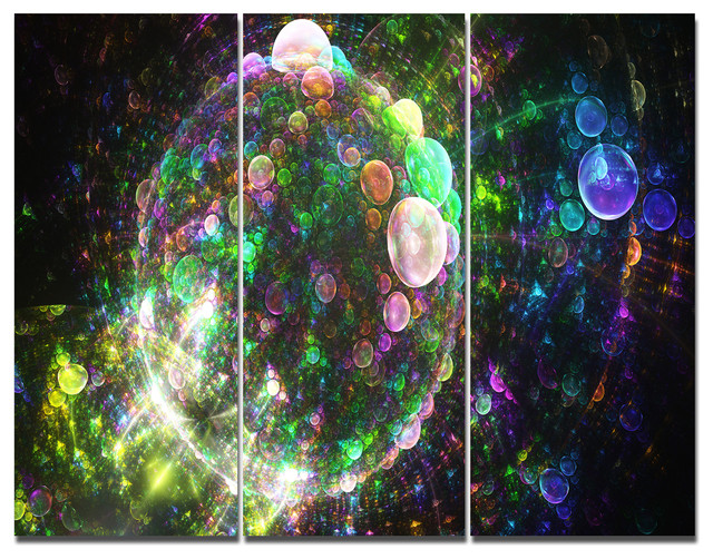 Multi Color Spherical Planet Bubbles, Abstract Canvas Art