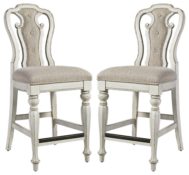 Liberty Magnolia Manor Counter Height Chairs Antique White Set Of 2