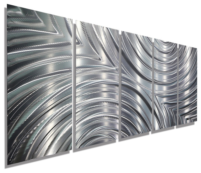 Silver Modern Contemporary Panel Metal Wall Art, Synchronicity, 84 Part 83
