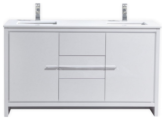 Dolce 60 Double Sink Modern Bathroom Vanity With White Quartz Countertop Modern Bathroom Vanities And Sink Consoles By Us Bathroom Store