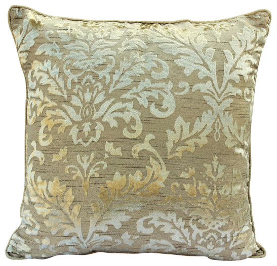 Damask Burnout Velvet Cream Throw Pillows Cover Creamy Transitional Decorative By The Homecentric