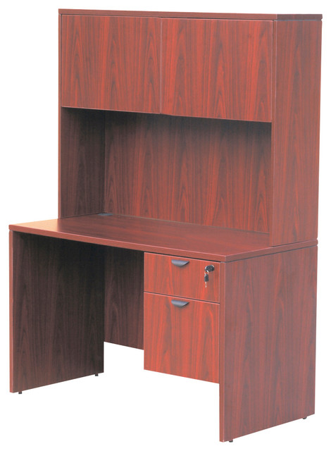 Boss Chairs Boss 48 Inch Desk With Hutch In Cherry Desks And Hutches