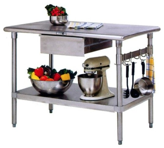 Kitchen Island 48 X 24 stainless steel kitchen work table/island - cucina forte (48 in. x