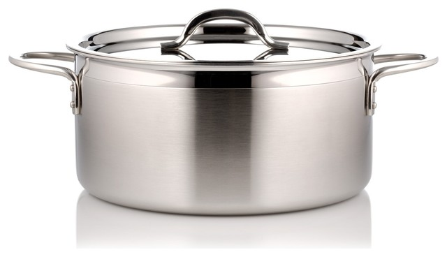 Country French Pot With Cover, Silver.