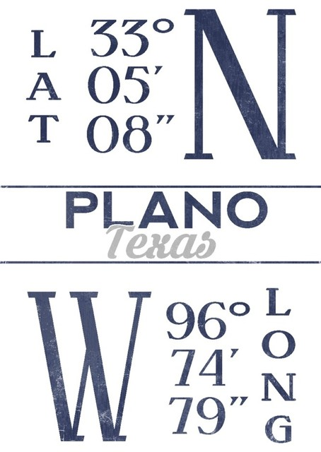 Quot Plano Texas Latitude And Longitude Blue Quot Print