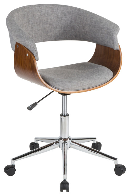 LumiSource Vintage Mod Office Chair, Walnut Wood and Light Gray