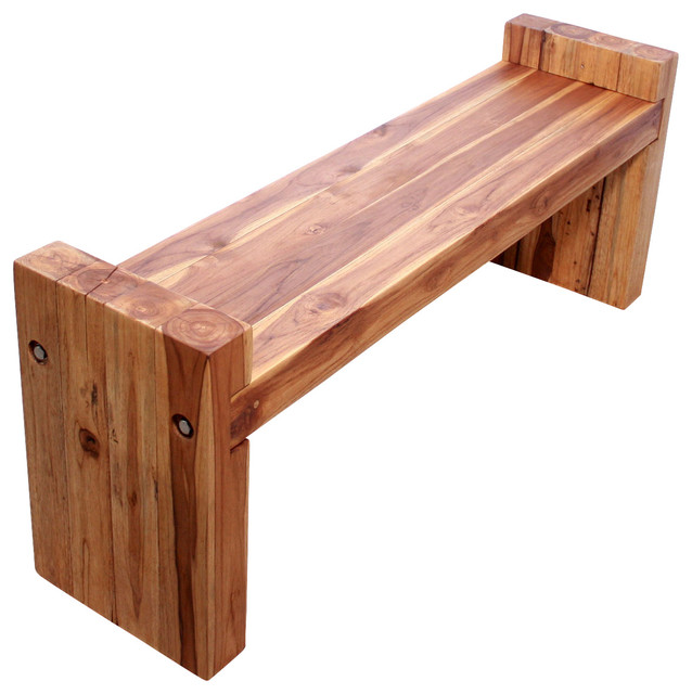 Sustainable Farmed Teak Wood Block Bench Livos Oak Oil Finish