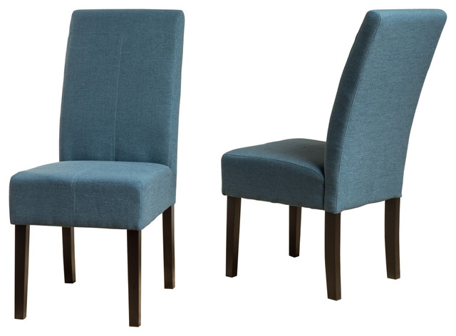 Blue Fabric Dining Chairs percival t-stitch fabric dining chairs, set of 2 - contemporary