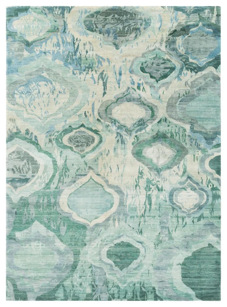 Surya Watercolor Wat5012 Blue Green Modern Area Rug Mediterranean Area Rugs By Rolledrugs
