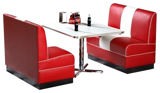 Classic Diner Retro Booth Set Contemporary Dining Sets