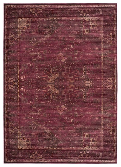 Traditional Vintage Area Rug, Raspberry, 6&x27;7x9&x27;2.