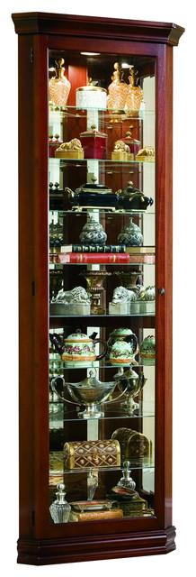 Pulaski Brown Corner Curio Traditional China Cabinets