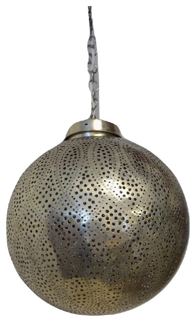 Moroccan Wired Hanging Pendant Lantern, Silver.