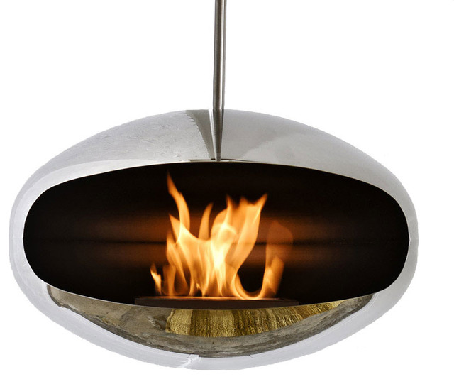 Cocoon Aeris Stainless Steel Hanging Fireplace Modern Indoor