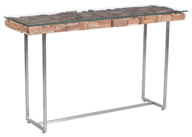 Natural Wood Console Table ~ Modern contemporary console table natural wood