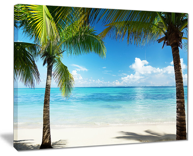 """""""palm Trees And Sea"""" Canvas Print."""