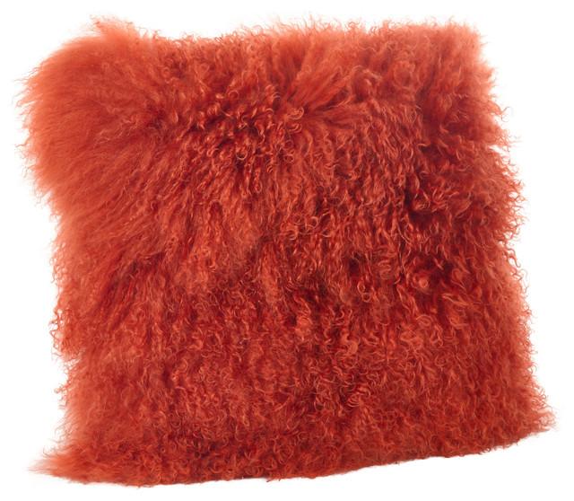 "Mongolian Lamb Fur Poly Filled Throw Pillow, Pumpkin, 16""x16""."