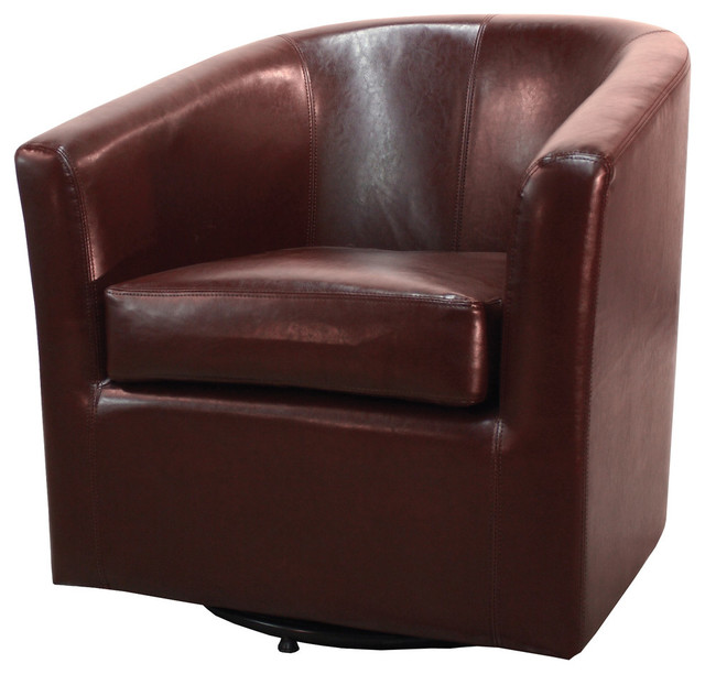 Candace Swivel Bonded Leather Chair, Saddle Brown.