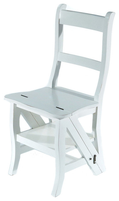 Peachy Solid Mahogany Distressed White Convertible Ladder Chair Inzonedesignstudio Interior Chair Design Inzonedesignstudiocom