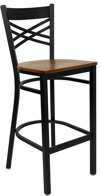 Hercules Series Black x Back Metal Restaurant Bar Stool Cherry Wood Seat transitional