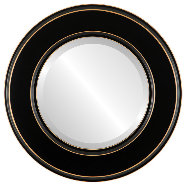 """Marquis Framed Round Mirror In Rubbed Black, 25""""x25""""."""