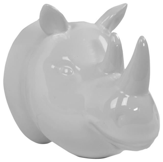 Ceramic Rhinoceros Head Wall Decor - Contemporary - Wall Sculptures ...