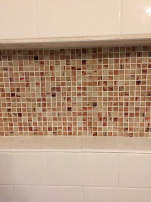 What Color Walls For This Bathroom - Bone colored subway tile