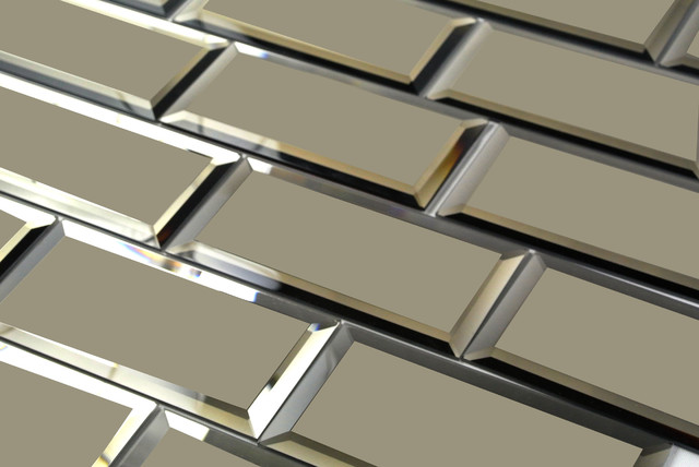 Gold Matte Peel And Stick Mirror Glass Subway Tile