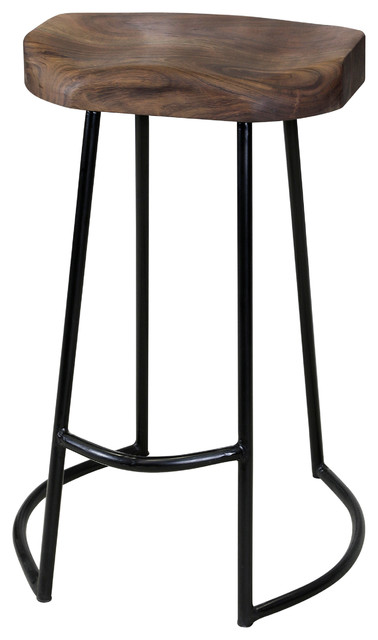 Gavin Sculpted Counter Stool Solid Acacia Seat And Black Wrought Iron Base Industrial Bar Stools And Counter Stools By Stylecraft Home Collection