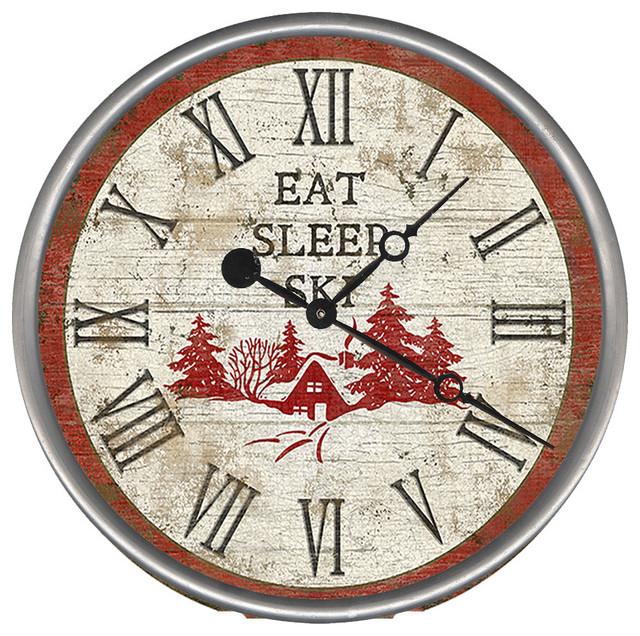 Eat Sleep Ski Round Vintage Clock Rustic Wall Clocks by Red