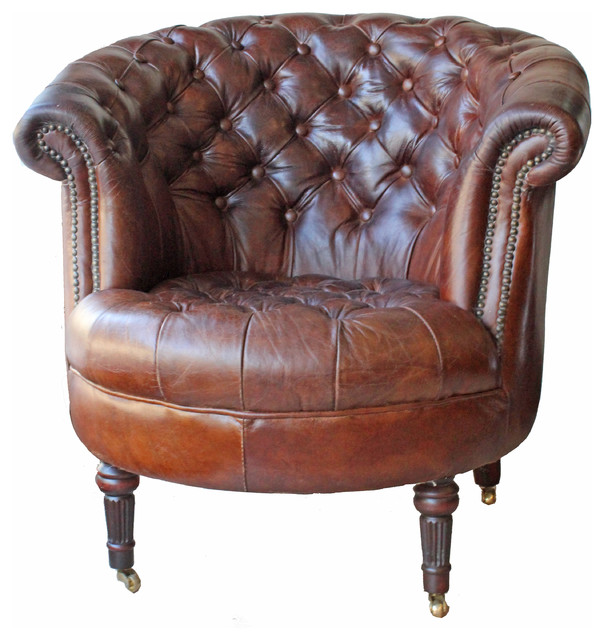 Genial Barrel Leather Armchair