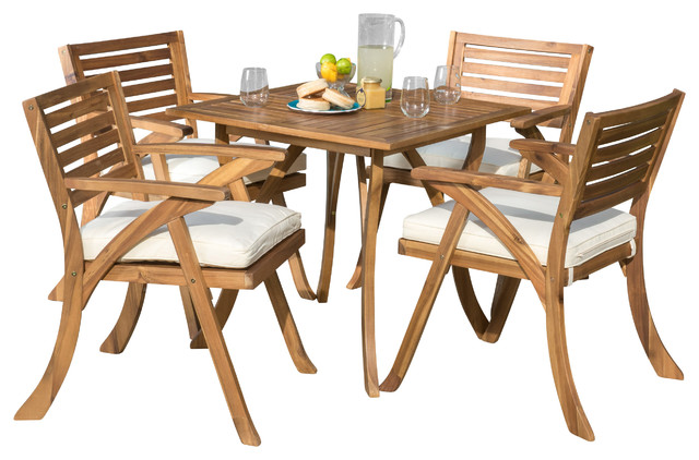 Deandra Outdoor Wood Dining With Cushions 5-Piece Set.
