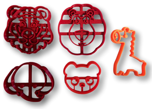 Zoo Themed Cookie Cutters, Set Of 5.