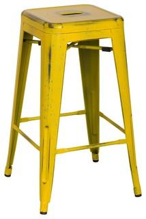 Metropolis Metal Backless Counter Stool, Distressed Yellow, Set of 4