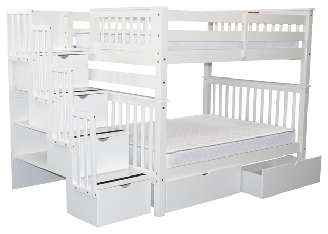 Bedz King Bunk Beds Full Over Full Stairway, 4 Steps And 2 Bed Drawers, White.