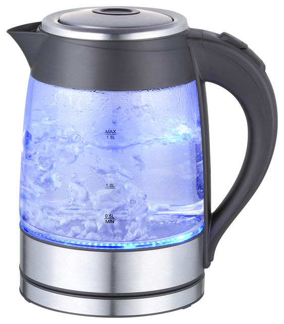 Megachef 1.8lt. Glass Body And Stainless Steel Electric Tea Kettle.