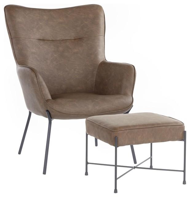 Surprising Izzy Industrial Lounge Chair Ottoman Set Black Metal Espresso Faux Leather Beatyapartments Chair Design Images Beatyapartmentscom