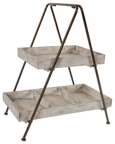 Metal and Wood 2-Tier A-Frame Shelf - Industrial - Display And Wall ...