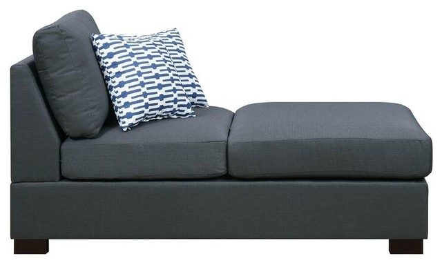 Slate Black Chaise With 2 Pillows