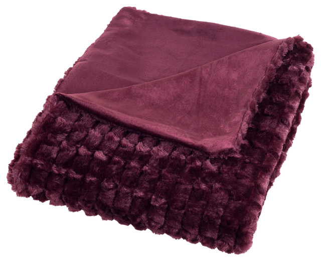 Plush Striped Embossed Faux Fur Mink Throw, Burgundy.