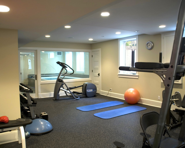 Home Weight Room   Mid Sized Traditional Home Weight Room Idea In  Minneapolis With Beige