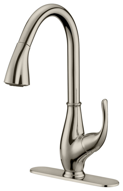 Brushed Nickel Finish Pull Down Kitchen Faucet Lk7b 1 Hole 3 Holes Transitional