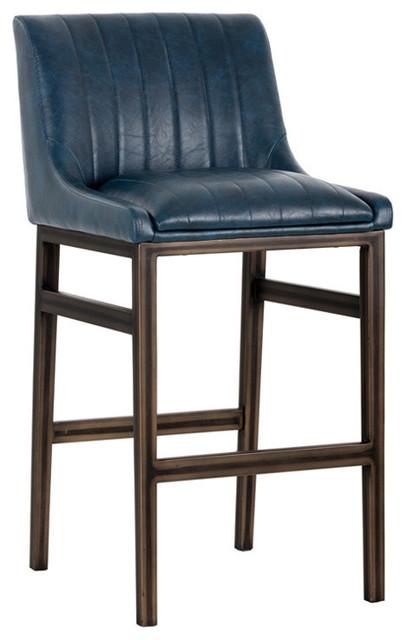 Halden Armless Barstool With Rustic Bronze Legs, Vintage Blue