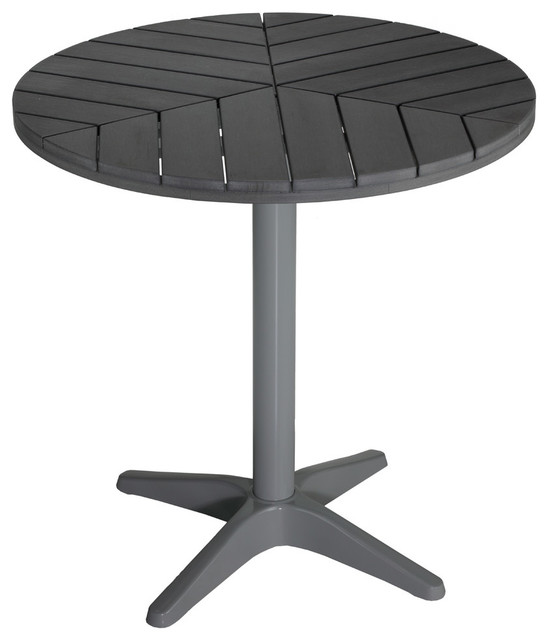Jaxon Round Aluminum Outdoor Bistro Table Poly Wood Silver Slate
