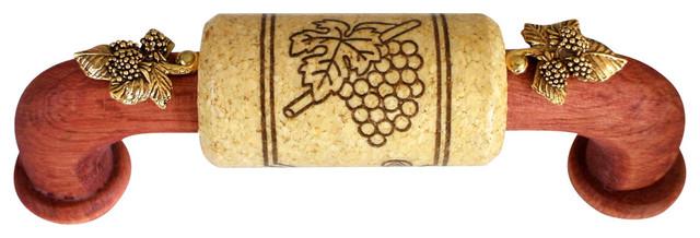 Cabernet Series Cherry Handle Natural Cork Gold Leaf Accents 96mm Cc