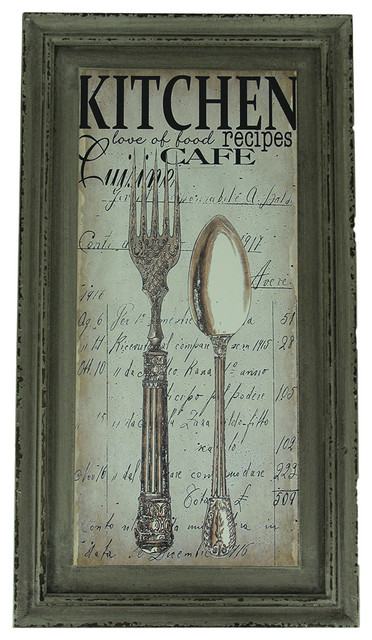 Kitchen Cafe Spoon And Fork Wood Frame Wall Decor Farmhouse Prints And Posters By Zeckos Houzz